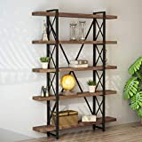 wood and metal bookcase - LITTLE TREE Solid Wood 5-Shelf Industrial Style Bookcase and Book Shelves, Metal and Wood Free Vintage Bookshelfs, Antique Nutmeg