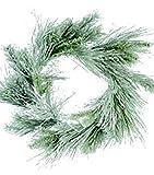 AmBest Christmas Mixed Evergreen Pine Flocked WREATH or GARLAND (24'' Wreath)