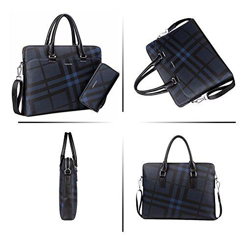 Jn Shoulder Bag Set Fashionable 1 Lightweight Diagonal c Men's Waterproof Popular Business Blue 2018 3073 Navy Lattice Leather Pu Tote rwOqBr
