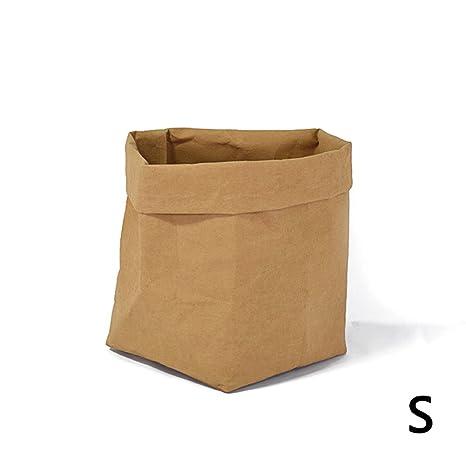 PROKTH Bolsas de papel kraft - Macetas de papel kraft - Bolsa pan - Papel kraft - Lavable papel multiusos bolsa de almacenamiento - Marrón - Small