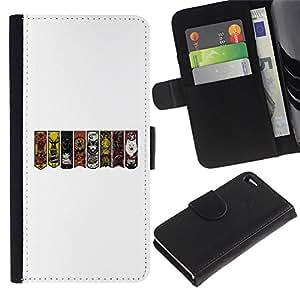 "A-type (GOT Sygils"") Colorida Impresión Funda Cuero Monedero Caja Bolsa Cubierta Caja Piel Card Slots Para Apple Apple iPhone 4 / iPhone 4S"