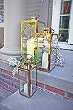 Set of 3 Rose Gold Large Indoor Outdoor Candle Tabletop Metal Lanterns