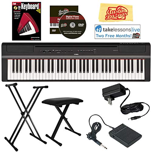 Yamaha P-121 73-Key Compact Digital Piano – Black Bundle with Adjustable Stand, Bench, Instructional Book, Online Lessons, Austin Bazaar Instructional DVD, and Polishing Cloth