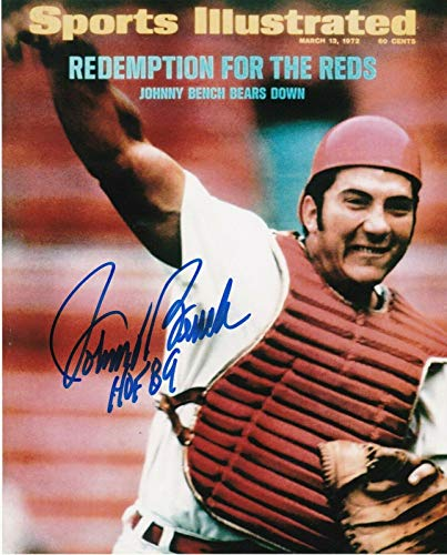 Signed Johnny Bench Photograph - HOF 89 SPORTS ILLUSTRATED COVER 8x10 - Autographed MLB Photos