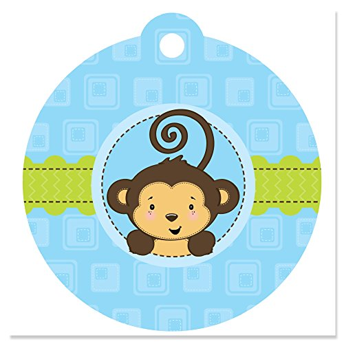 (Blue Monkey Boy - Baby Shower or Birthday Party Favor Gift Tags (Set of)