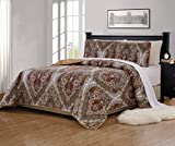 xl twin quilt bedspread - Mk Home 2pc Twin/Twin Extra Long Bedspread Quilted Print Floral White Brown Green Reversible Taupe Over Size New # Portia