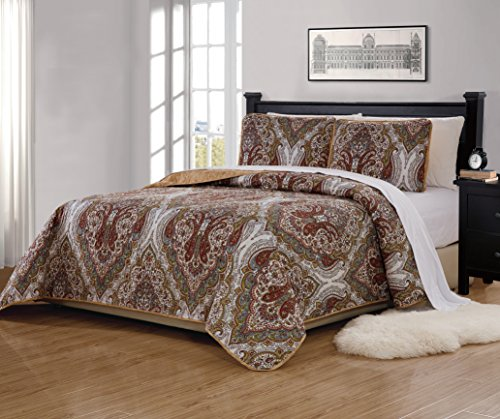 Mk Home 3pc King/California King Bedspread Quilted Print Floral White Brown Green Reversible Taupe Over Size New # Portia 66 ()
