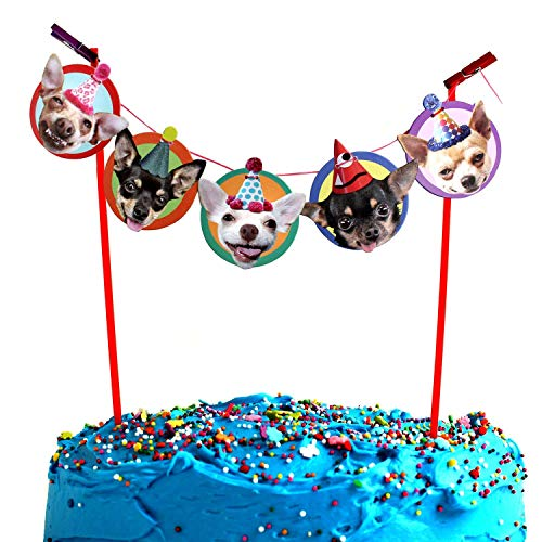 Chihuahua Cake Garland, photographic dog birthday party decoration