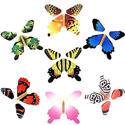 Magic Fairy Flying in The Book Butterfly Rubber Band Powered Wind Up Butterfly Toy Great Surprise Gift (7pc): Toys & Games