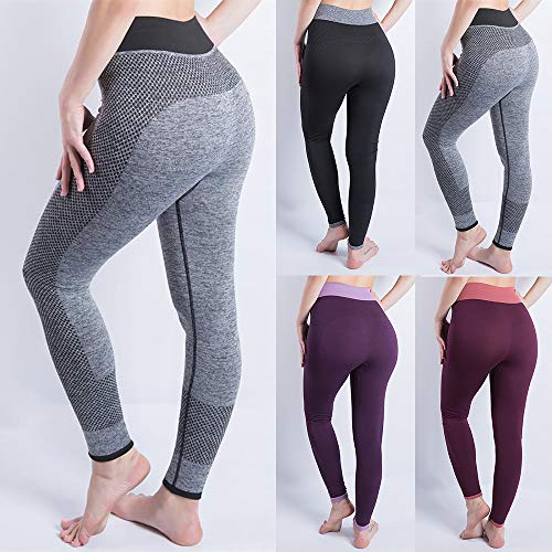 iLUGU Women Gym Yoga Patchwork Sports Running Fitness Leggings Pants Athletic Trouser(S,Black-1) by iLUGU (Image #2)