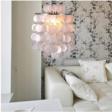 mini white shell capiz ceiling light pendant chandelier ambient