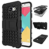 TARKAN Samsung Galaxy A3 2016 Case Hard Armor Hybrid Rubber Bumper Kick Stand Back Cover [Black]