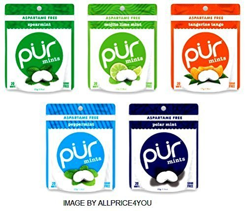Pur Mints 5 Flavor Variety Pack - Tangerine Tango, Mojito Lime Mint, Polar Mint, Peppermint & Spearmint - 20 Pieces Each Xylitol Peppermint Mints