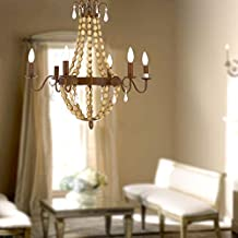 Antique Finish wood bead Cage Chandelier American Country Rural Style For Bedroom Living Room Dining Room (6 Lamp Pendant)