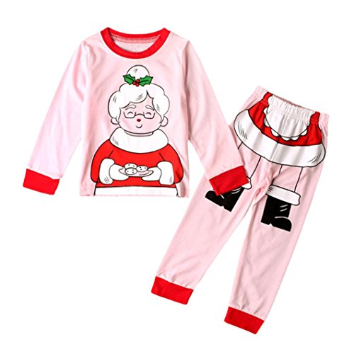 Omiky® Kinder Kleinkind Baby Mädchen Weihnachten Oma Tops Shirt Hosen Outfits Set Kleider Rosa