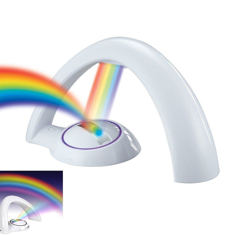 LED Lucky Rainbow Projector Night Light Magic Color Lamp for Kids Romantic Lights Children Girls Gift ( AC/DC Adaptor Supplied As A Gift)