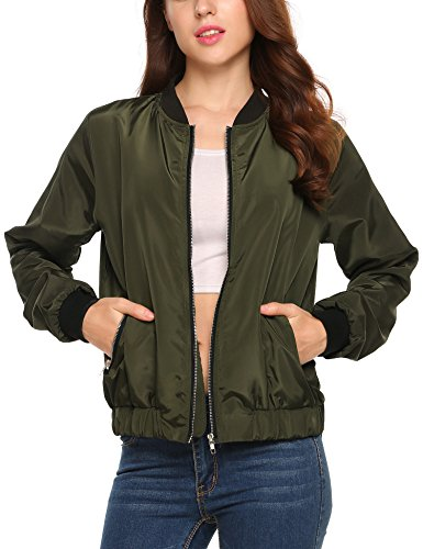 Beyove Women's Bomber Jacket Solid Biker Quilted Lightweight Coat