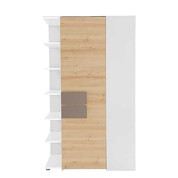 Pharao24 Schlafzimmer Eckschrank In Buche Taupe Mit Regalfachern