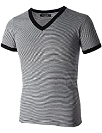 Mens Wide Striped V-Neck Tee Shirt