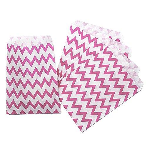 CTIGERS Pink Chevron Zigzag Party Favor Paper Bags Treet Bag 5