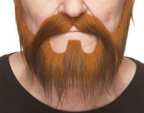 (Mustaches Self Adhesive, Novelty, Nomad Fake Beard and Fake Mustache, False Facial Hair, Costume Accessory for Adults, Dark Ginger)