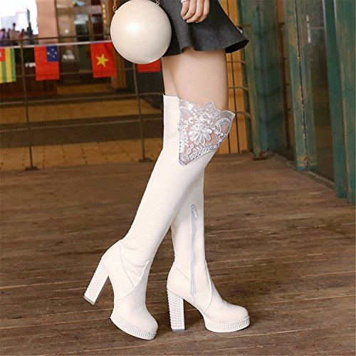 Zip Delle Stivali Tacco Cosplay Alti Dolci Lolita Alto Donne Pizzo Vestito Piattaforma Tirahse Bianche x40qaFwg0