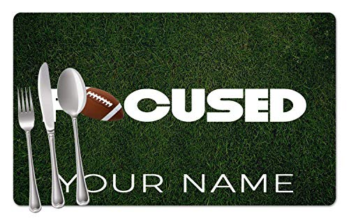 - BRGiftShop Personalized Custom Name Football Focused Set of 4 Table Placemats