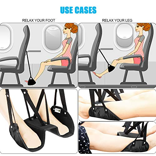 Separated Design Footrest-Portable Adjustable Height, Travel Foot Hammock-Prevents Swelling and Soreness -Provides Relaxation and Comfort for Travel,Accessories for Office, Airplane, Train, Bus Photo #4