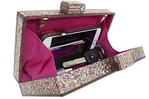 BG-713-G65 Box Clutch Crossbody Hard Case Purse Evening Bag - Glitter Rose Gold by Funky Junque (Image #2)