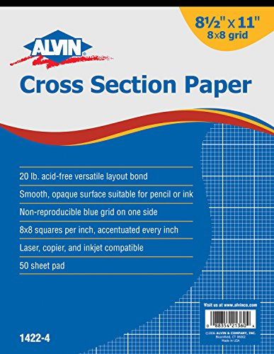 Alvin 1422-4 Cross Section Paper 8 x 8 Grid 50-Sheet Pad 8-1/2 inches x 11 - Cross Section Graph