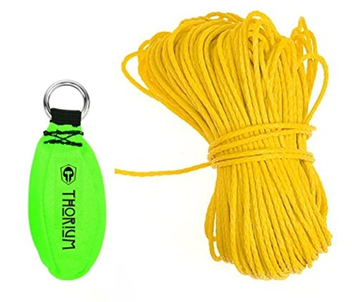 Thorium Slingshot Launcher Arborist Throw Weight Bag Pouch Set Kit Bright Green 16oz / 450g complete with BONUS 150' / 45m Throw Line Rope
