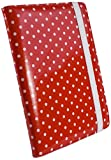 Tuff-Luv Slim Book-Style fabric case cover for Pocketbook 611 & Touch 622 / Bookeen Cybook Odyssey / Trekstor Pyrus 6 eBook eReaders - Red Polka-Hot