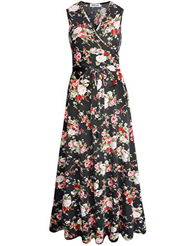 Aphratti Women's Sleeveless Faux Wrap V Neck Floral Vintage Long Maxi Dress Black14901 Small