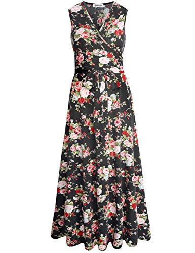 Cotton Dress Sleeveless Wrap - Aphratti Women's Sleeveless Faux Wrap V Neck Floral Vintage Long Maxi Dress Black 14901 Small