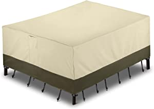 SunPatio Outdoor Furniture Covers Waterproof, Patio Furniture Covers 600D Heavy Duty, Rectangular Patio Table and Chairs Set Cover, All Weather Protection - 110''W x 84''D x 28''H, Beige & Olive