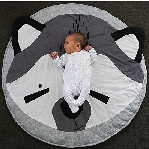 YEVEM Kids Blankets Animals Bear Baby Quilted Round Play Mats Children Developing Blankets Crawling Rug Carpet For Kids Room Decoration (95cm (Diameter), Style A)