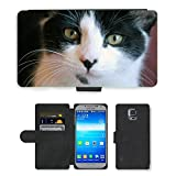 Just Phone Cases Flip PU Leather Wallet Case with Credit Card Slots // M00128317 Cat Kitty Feline Animal Photo // Samsung Galaxy S5 S V SV i9600 (Not Fits S5 ACTIVE)