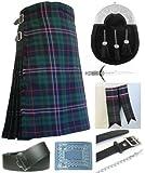 Mens Scottish National Tartan 7 Piece Full Dress Kilt Outfit Size: 46'' - 48''