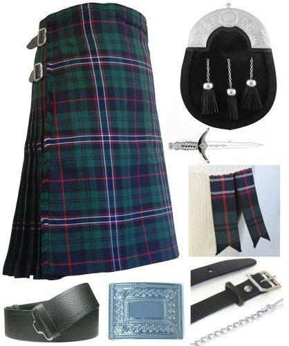 Mens Scottish National Tartan 7 Piece Full Dress Kilt Outfit Size: 34'' - 36'' by Kilt Society