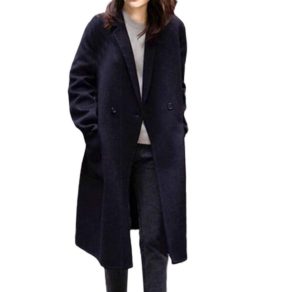 Womens Winter Warm Lapel Artificial Wool Cotton Trench Coat TUDUZ Ladies Slim Double-Breasted Office Work Business Party Long Parka Jacket Overcoat
