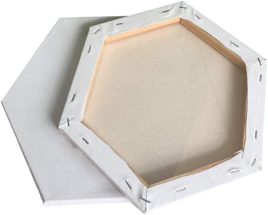 CUEYU DIY Toiles /à Peindre /à lhuile en Coton avec Cadre,Mini Panneaux de Toile tendus 3Pcs Petits Tableaux Hexagone pour Peinture /à lhuile Vierge,id/éal pour Artistes d/ébutants
