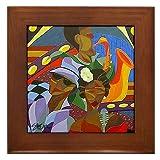 The Jazz Club :: Art Deco Cubist Framed Fine Art Ceramic Tile By Kristen Stein