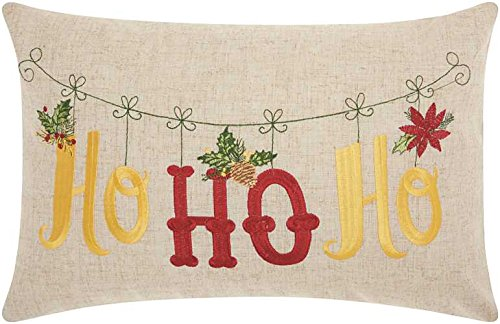 Mina Victory by Nourison L1608 Home For The Holiday Ho Ho Ho Decorative Pillow