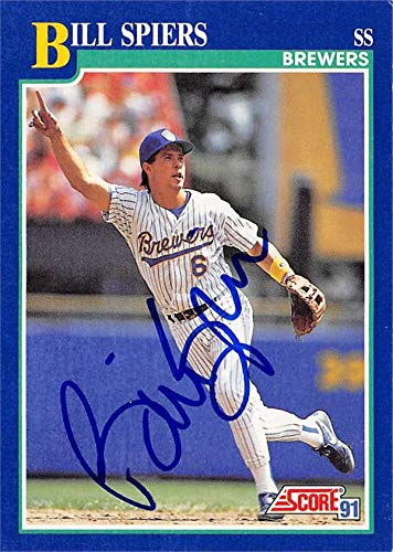 Bill Spiers Autographed Baseball Card Milwaukee Brewers Sc 1991