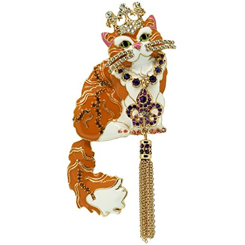 Princess Kitty Ginger Tabby Cat Rhinestone Fleur-de-Lis Enamel Pin/Pendant (Goldtone) Ritzy Couture with Tassel Women's ()