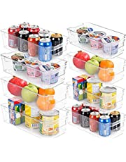 KICHLY (Set of 8) Pantry Organizer - Include 8 Organizer 4 Large & 4 Small Drawers Stackable Fridge Organizers for Freezer, Kitchen, Countertops, Cabinets (8- Piece)