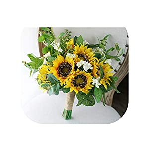 Beautiful Sunflower Bridal Bouquet Wedding Bouquet Artificial Silk Flower Bridesmaid Bouquet for Brides Holding Flowers 48