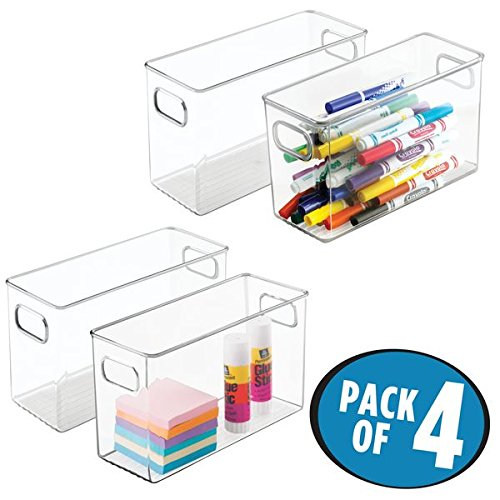 "mDesign Office Supplies Desk Organizer Bin for Pens, Pencils, Markers, Highlighters, Tape - Pack of 4, 10"" x 4"" x 6"", Clear"