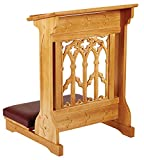 Maple Hardwood Padded Church Prayer Kneeler in Medium Oak Stain Finish, 24 Inch