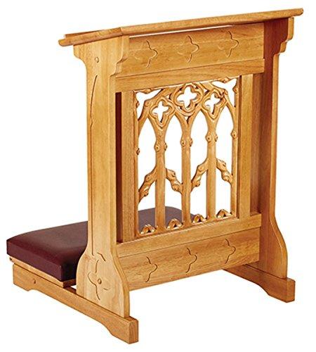 Maple Hardwood Padded Church Prayer Kneeler in Medium Oak Stain Finish, 24 Inch
